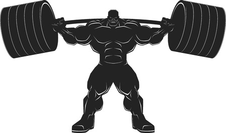 steroids: Bodybuilder with a barbell,  illustration vektor, silhouette