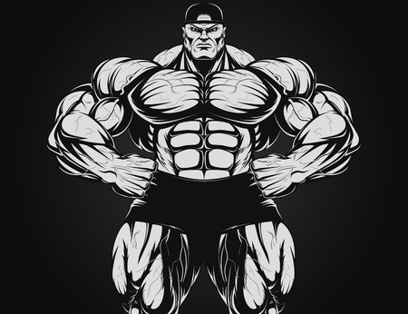 Vector illustration, bodybuilder with dumbbell Vector