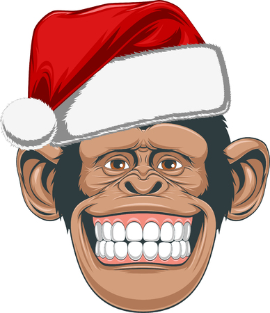 monkey suit: Vector illustration, Head chimpanzee in a cap Illustration
