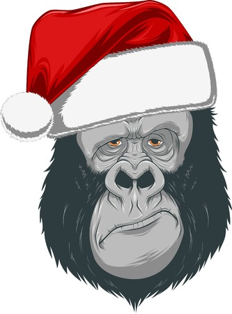 monkey suit: Vector illustration, head of the gorilla in a red cap