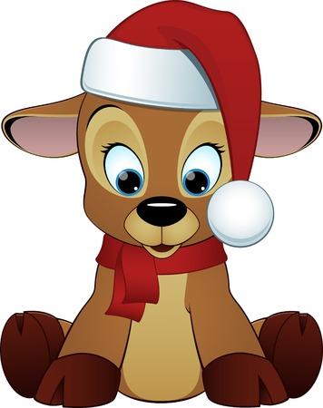 Vector illustration, cute deer cartoon