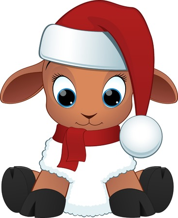 xmas baby: Vector illustration, cartoon baby sheep