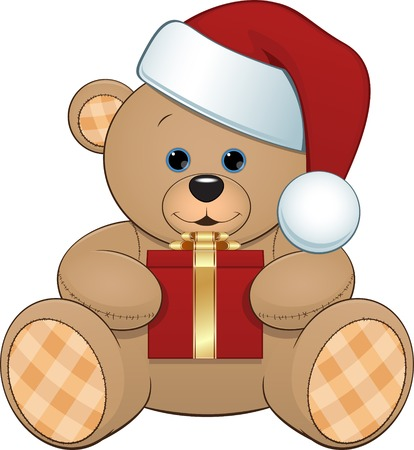 illustration of toy bear in a cap with a gift Vector