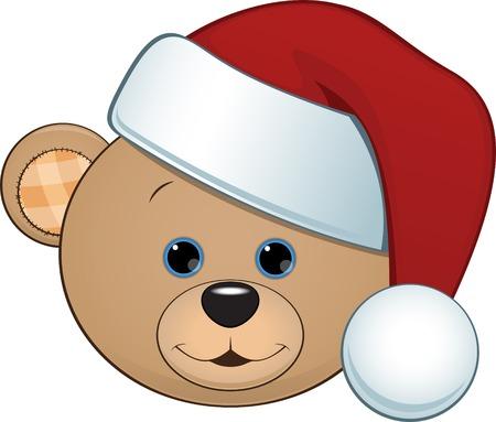 osos navideños: ilustración de oso de juguete en una gorra