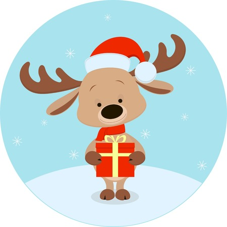 animal themes: Vector illustration, cute deer cartoon