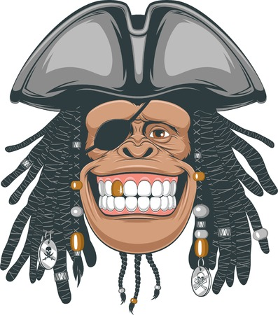 Vector illustration, chimps in a pirate hat Vector