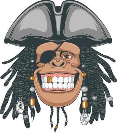 Vector illustration, chimps in a pirate hat Illustration