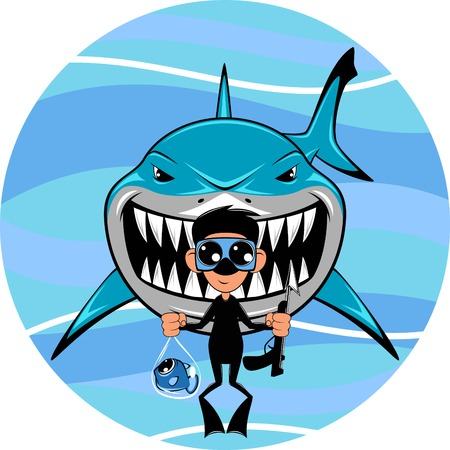 Vector image, toothy white shark and diver