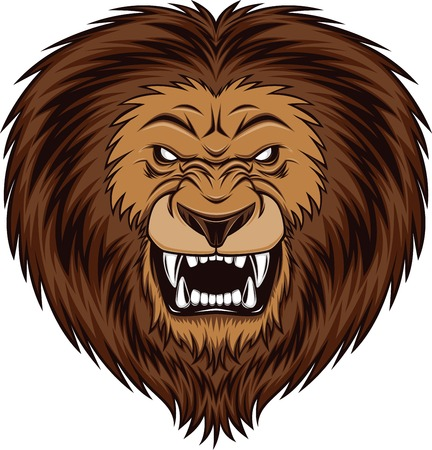 angry lion: Fierce lion head, vector illustration Illustration