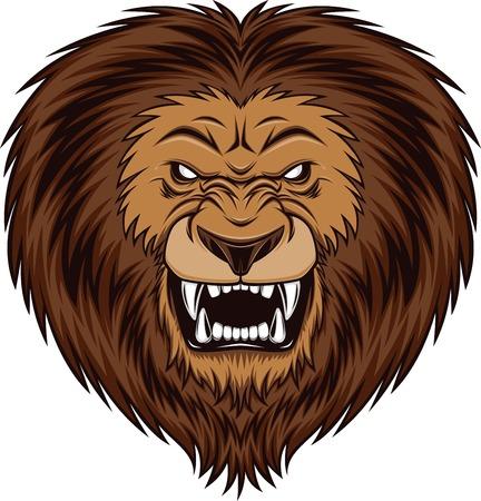 Fierce lion head, vector illustration Illustration