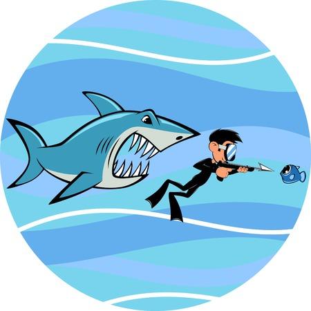 Vector beeld, toothy witte haai en duiker Vector Illustratie