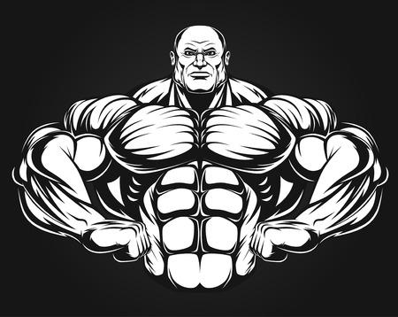 building contractor cartoon: Bodybuilder showing muscles