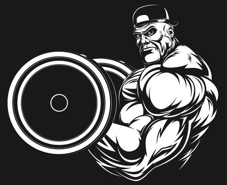 Illustratio, un bodybuilder feroce con un bilanciere Archivio Fotografico - 33048890