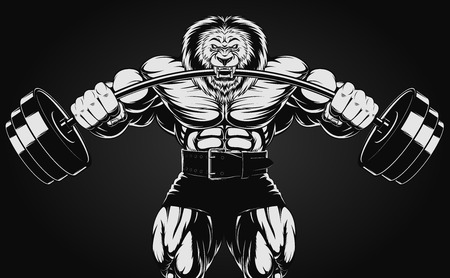 illustration of an angry lion with a barbell