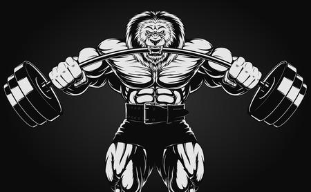 ilustración de un león enojado con una barra Ilustración de vector