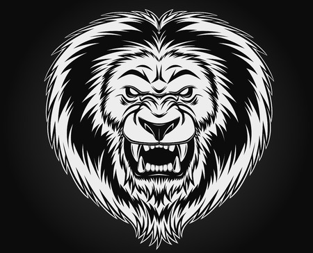 Fierce lion head illustration Vector