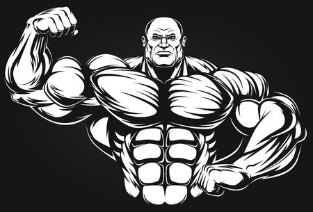 cartoon builder: Bodybuilder showing muscles, illustration vektor