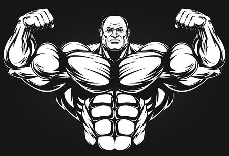 cuerpo hombre: Bodybuilder que muestra los m�sculos, ilustraci�n vektor