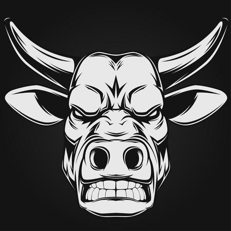 ferocious: illustration, evil ferocious bull