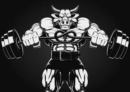 steroids: Vector illustration of a strong bull with a barbell