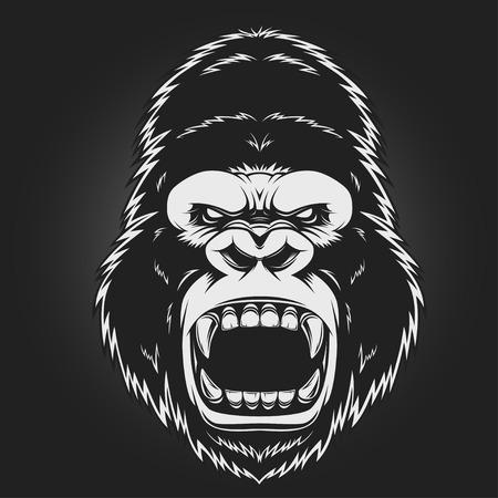 gorila: Cabeza del gorila enojado, ilustraci�n vectorial