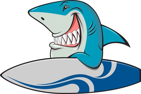 Vector illustration, toothy white shark