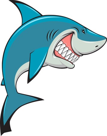 blue fish: Vector illustration, toothy white shark