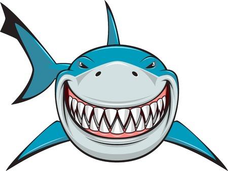 shark cartoon: Ilustración vectorial, tiburón blanco con dientes