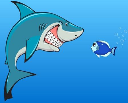 white shark: Vector illustration, toothy white shark and fish