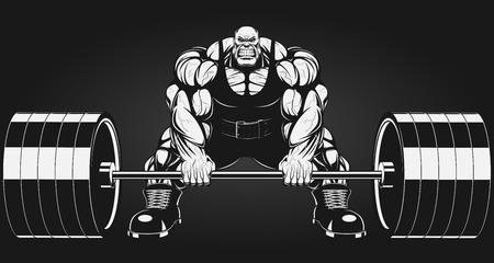 Illustratio, eine wilde Bodybuilder mit einer Langhantel Standard-Bild - 33945531