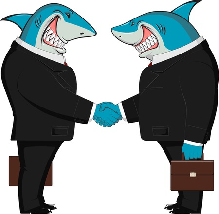 Vector illustration of handshake two business sharks