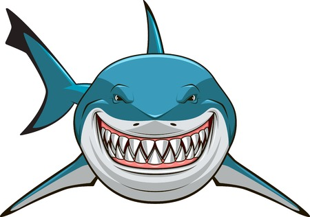 Vector illustration, toothy white shark 版權商用圖片 - 34570635