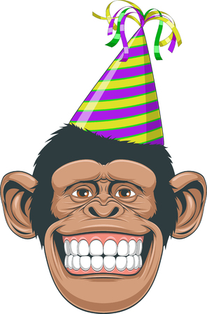 vectorial: Vectorial illustration, the head of a chimpanzee wearing a cap with ribbons Illustration