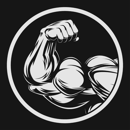 muskeltraining: Bodybuilder, der Muskeln zeigt, Abbildung Vektor Illustration