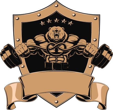 Illustration, angry bear head mascot Vettoriali