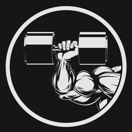 Illustration vector, bodybuilder with dumbbell