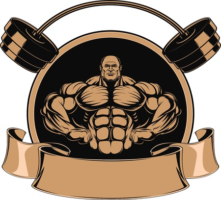 bend: Bodybuilder showing muscles, illustration vektor