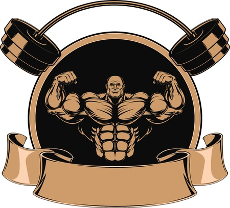 steroids: Bodybuilder showing muscles, illustration vektor
