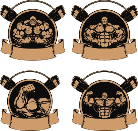 culturista: conjunto hombre de culturista de hierro que muestra los m�sculos ilustraci�n Vectores