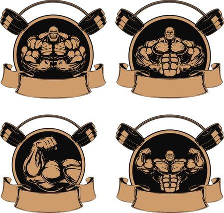 hunk: set man of iron bodybuilder showing muscles illustration  Illustration