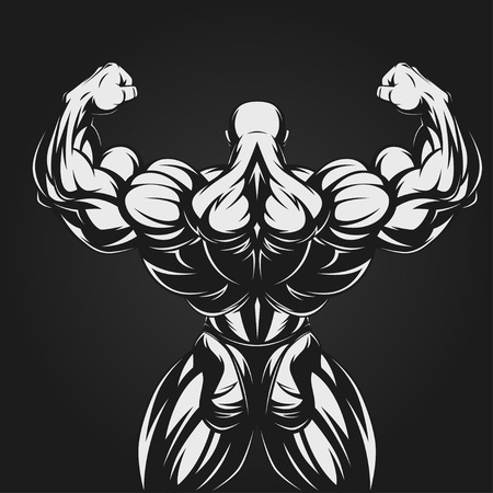 cuerpo hombre: Bodybuilder que muestra los m�sculos, ilustraci�n vectorial