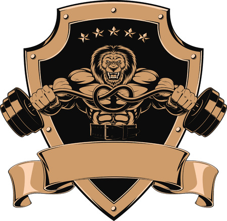 flexing muscles: Vector illustration of an angry lion with a barbell