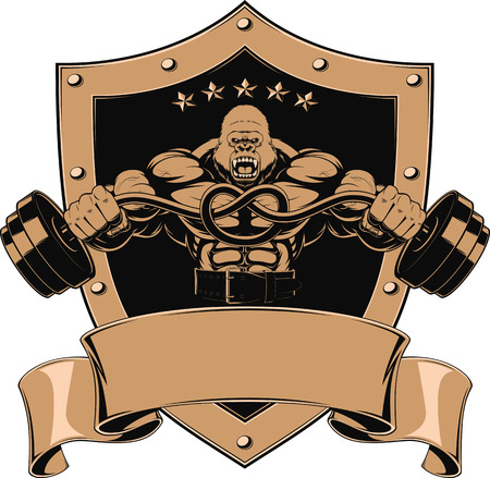 Vector illustration of a strong gorilla with a barbell Illustration
