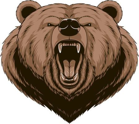 ベクトル イラスト、怒った熊ヘッド マスコット