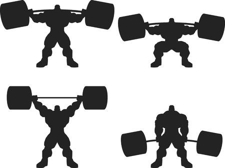 Illustrazione, un bodybuilder feroce con un bilanciere, vettore silhouette, set Vettoriali