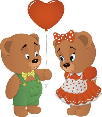 Vector illustration, cute bears with heart , a declaration of love