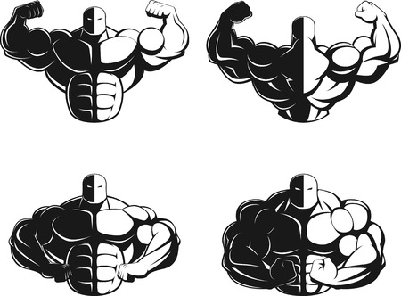 muscle training: Illustrazione vettoriale, bodybuilder che mostra i muscoli