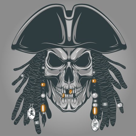 gold cross: Vector illustration of an evil pirate skull in hat