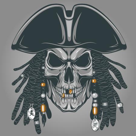 skelett mensch: Vektor-Illustration eines b�sen Piraten-Totenkopf mit Hut Illustration