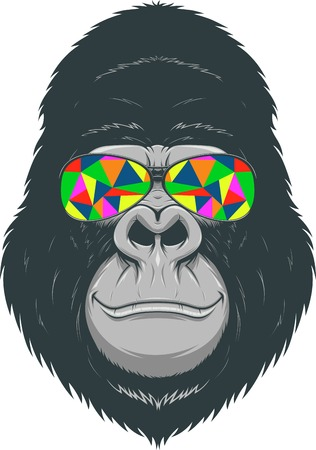 funny glasses: illustration, funny gorilla with colored glasses